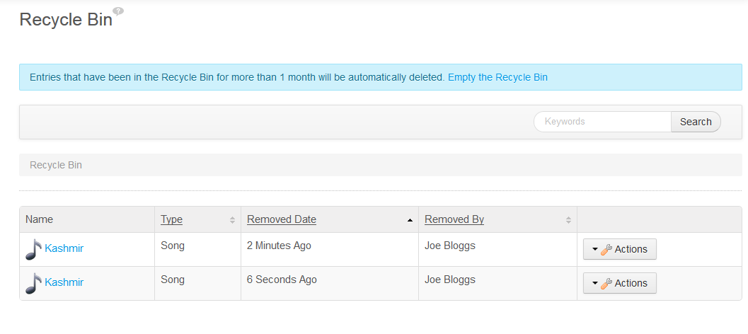 Figure 1: The Recycle Bin allows you to manage trash entries, even if they share the same name.