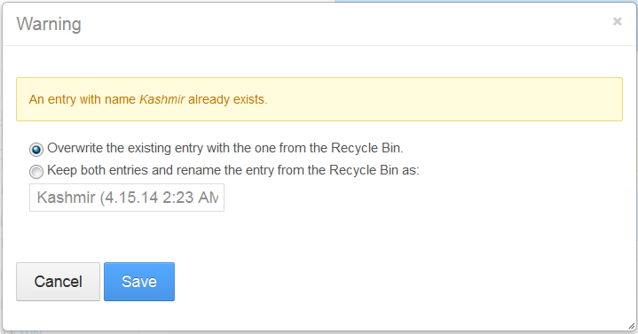 Figure 2: The Recycle Bin enables you to handle conflicts by notifying the user with a pop-up message and options for solving the problem. Clearly, if you recycled Kashmir, someone may have tried to fix that both by re-uploading it and by restoring it.