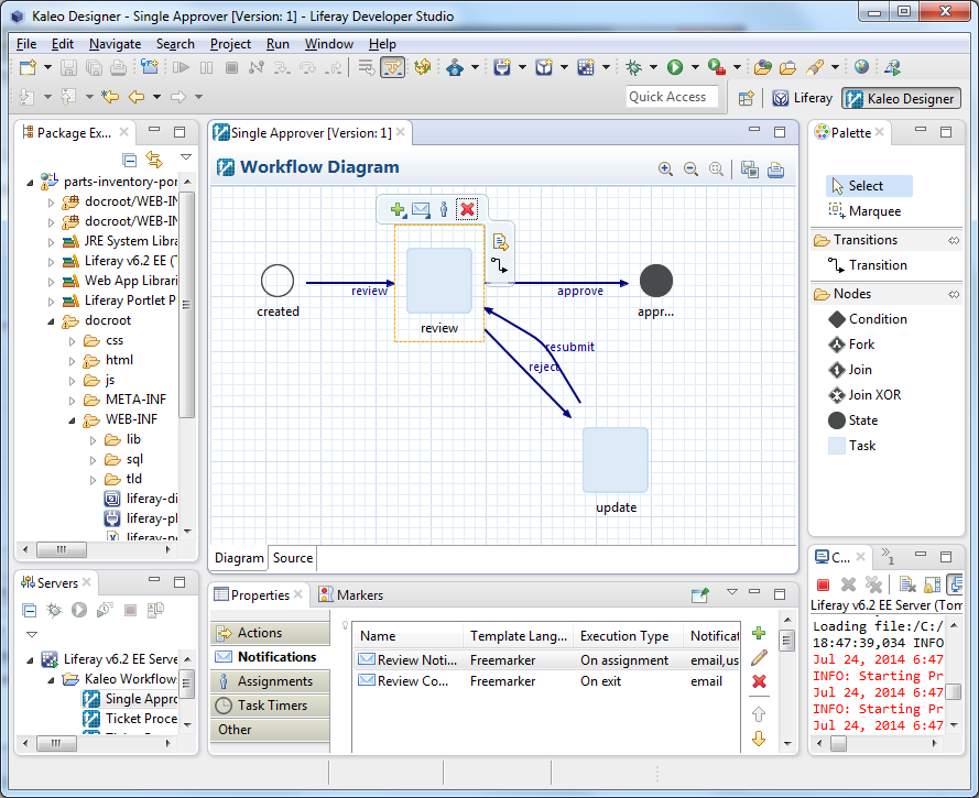 Figure 1: Kaleo Designer for Java gives you a powerful environment for designing, modifying, and publishing Kaleo workflows.