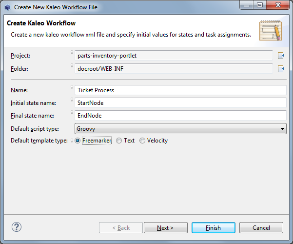 Figure 3: The Create Kaleo Workflow form in Liferay Developer Studio lets you select a script type and template type for your workflow.