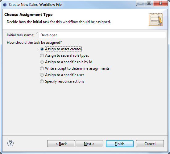 Figure 4: When choosing an assignment type for a task node, you are given multiple options.