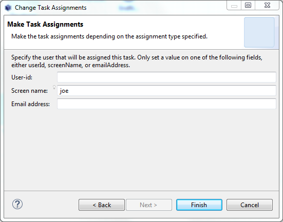 Figure 6: Designer lets you assign a task to a specific user of Liferay Portal.