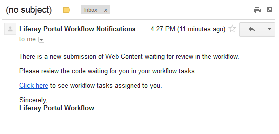 Figure 3: This is how the email notification will appear when its received.