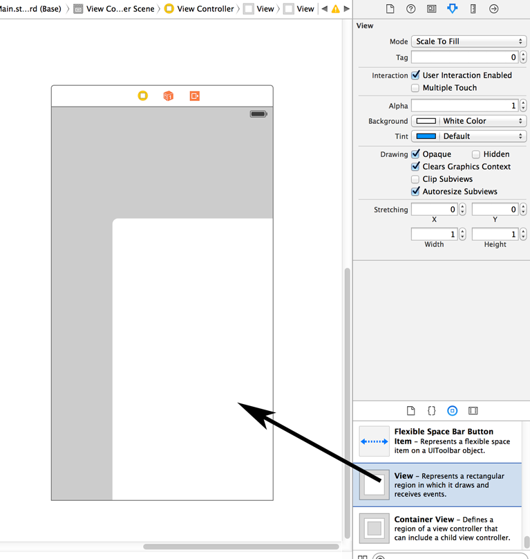 Figure 1: Add a new UIView to your project.