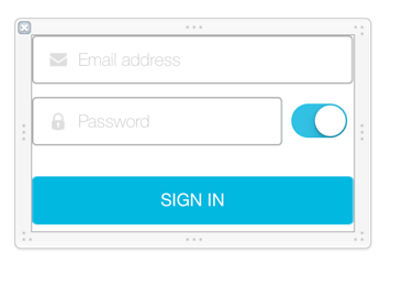 Figure 2: This example Extended Themes XIB file extends the Login Portlets UI and behavior with a switch that lets the user show or hide the password field value.