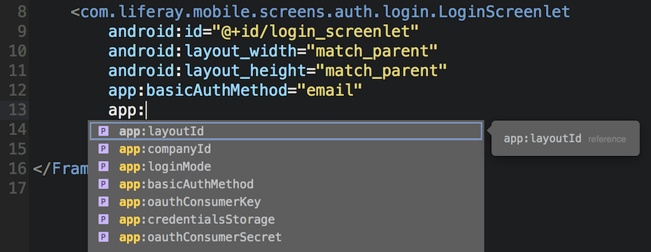 Figure 1: You can set a Screenlets attributes via the apps layout AXML file.
