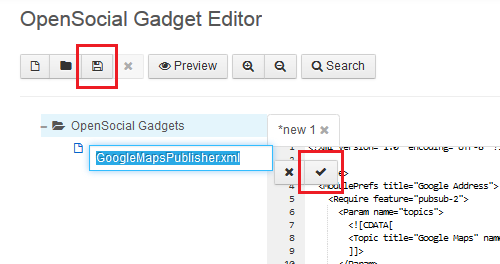 Figure 2: It is easy to insert gadget content into Liferays OpenSocial Gadget Editor and save it as an OpenSocial gadget.