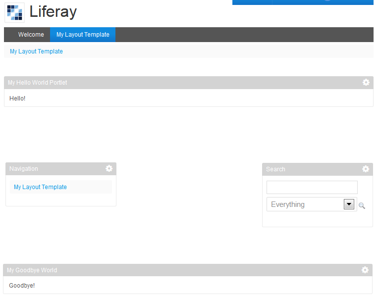 Figure 2: Your embedded portlets are now available when viewing your customized layout template.