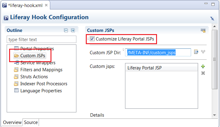 Figure 1: Liferay IDEs Hook Configuration menu allows you to create a custom JSP.