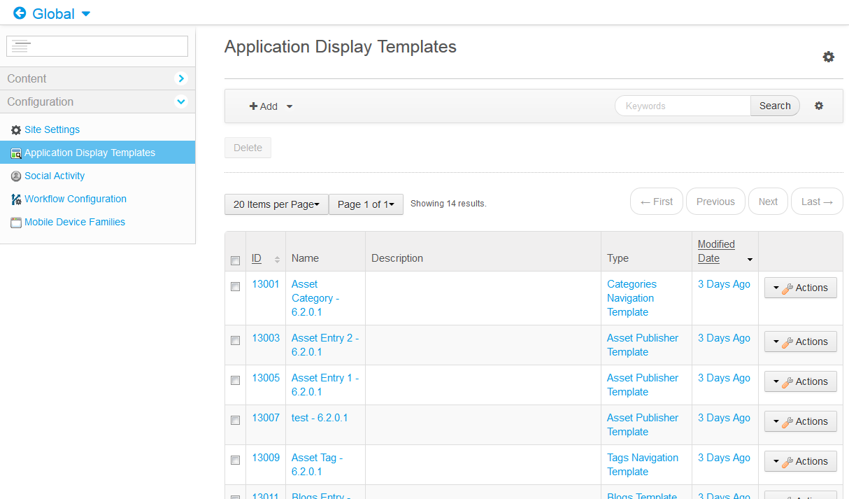 Figure 1: The Templates Importer allows users to import all kinds of structures and templates, such as these application display templates.