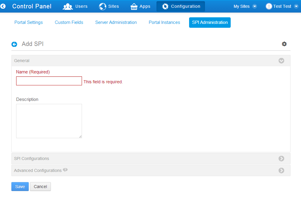Figure 2.7: You can name your SPI, describe it, and configure it from the Add SPI panel.