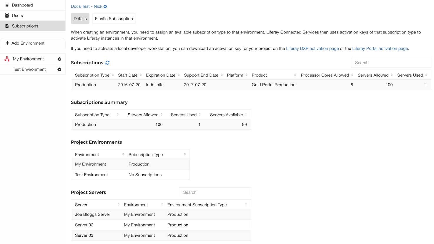 Figure 4.22: LCS lets you view and manage your subscriptions.