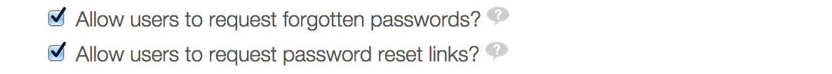 Checkboxes for the password recovery features in Liferay Portal.
