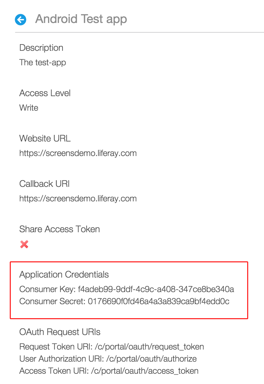 Copy the Consumer Key and Consumer Secret from OAuth Admin in your portal.