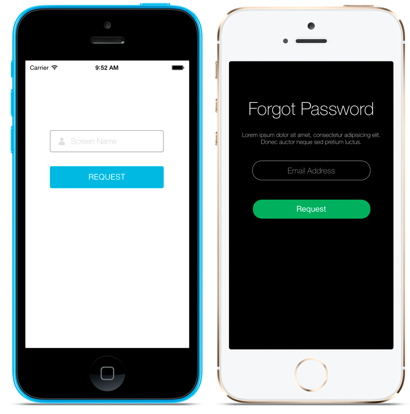 The Forgot Password Screenlet with the Default (left) and Flat7 (right) Themes.