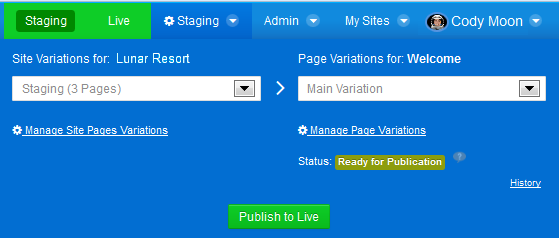 Figure 1.3: Staging supports publishing manually or on a schedule.