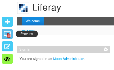 Figure 1.1: When designing pages, Liferay includes a preview that lets you see how it would look when displayed at resolutions for computers, tablets, and phones.