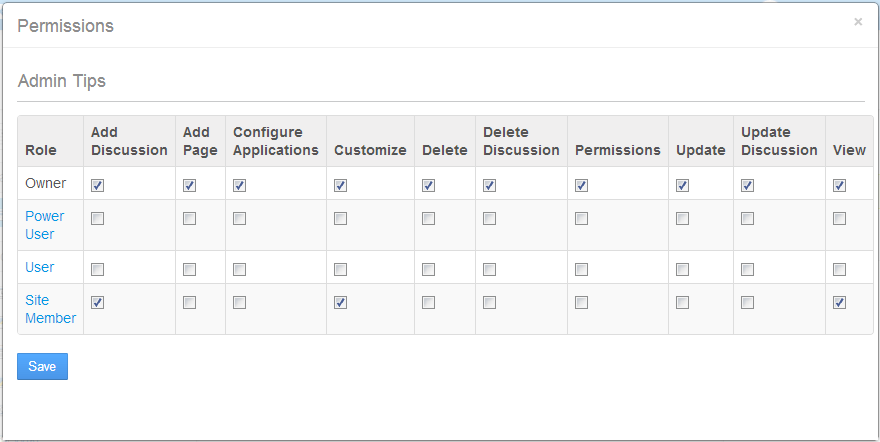 Figure 2.13: The Permissions offer a plethora of options for each role.