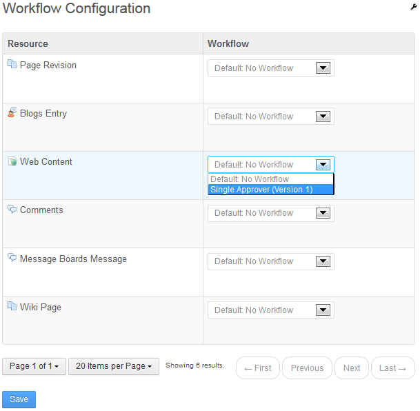 Figure 2.24: You can select the pre-made Single Approver workflow to experiment with workflow management.