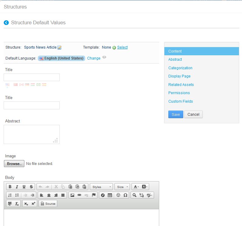 Figure 3.3: You can edit default values via the Actions button of the Manage Structures interface.