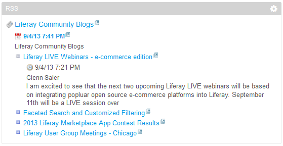 Figure 3.10: By default, the RSS portlet is configured to display feeds from Liferay Community Blogs, Yahoo News, and the New York Times. This image displays what the Liferay Community Blogs feed looks like in the RSS portlet.