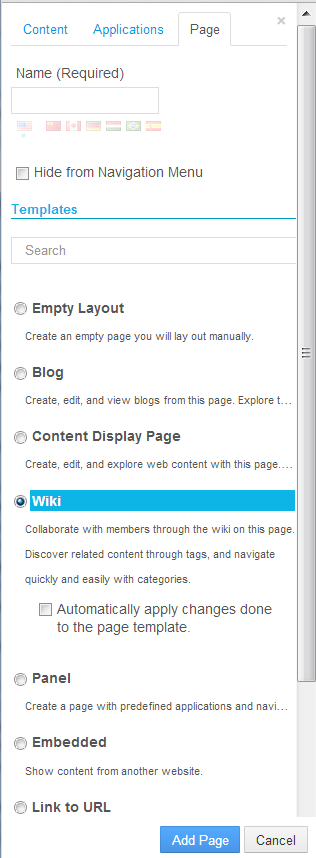 Figure 3.15: When creating a new site page, youre given options for the page template and page type.