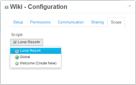 Figure 4.9: You can change the scope of your portlet by navigating to its Configuration menu.