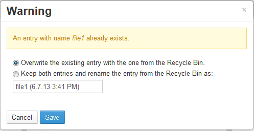 Figure 4.17: The Recycle Bin always scans your site/portal for duplicate file names during the restoration process.