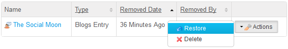 Figure 4.15: In the Recycle Bin, you have the option of restoring or permanently deleting the content.
