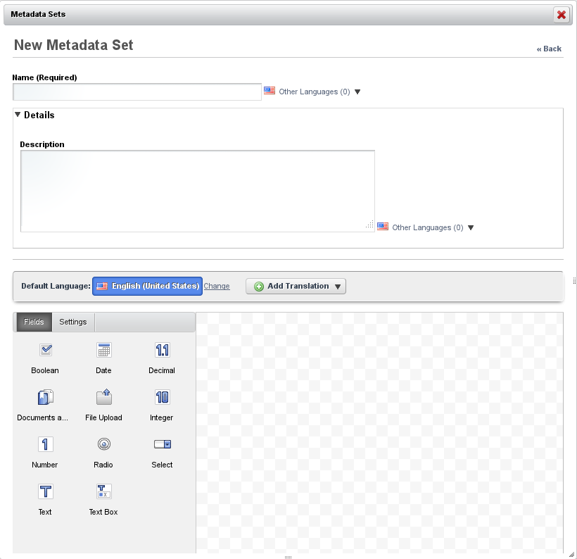 Figure 5.4: Adding a New Metadata Set is easier than ever with Liferays advanced editor.