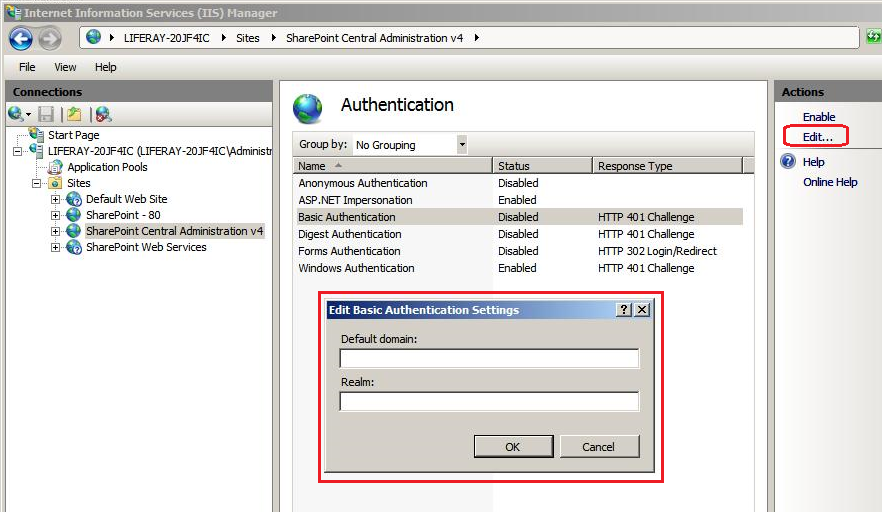 Figure 2: Clicking the Edit action brings up the a dialog for setting the Default domain and Realm.