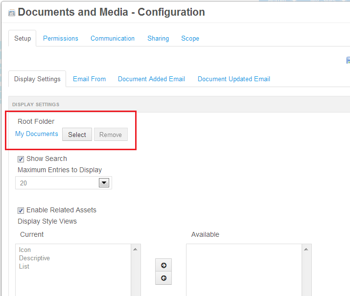 Figure 5.6: To make portlet-specific configurations for Documents and Media, click on the gear icon at the top of the portlet window and select Configuration.