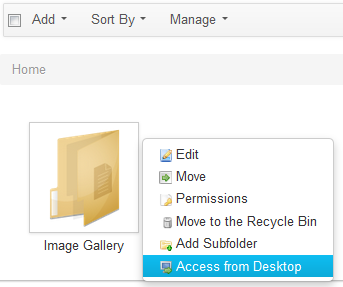 Figure 5.10: Select Access from Desktop to get the WebDAV URL of a folder.