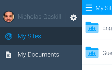 Figure 5.27: This panel lets you access the apps settings, as well as your sites and documents.