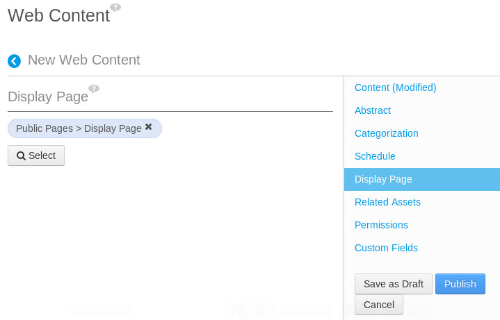 Figure 6.17: You can select a display page for a web content instance when creating or editing one.