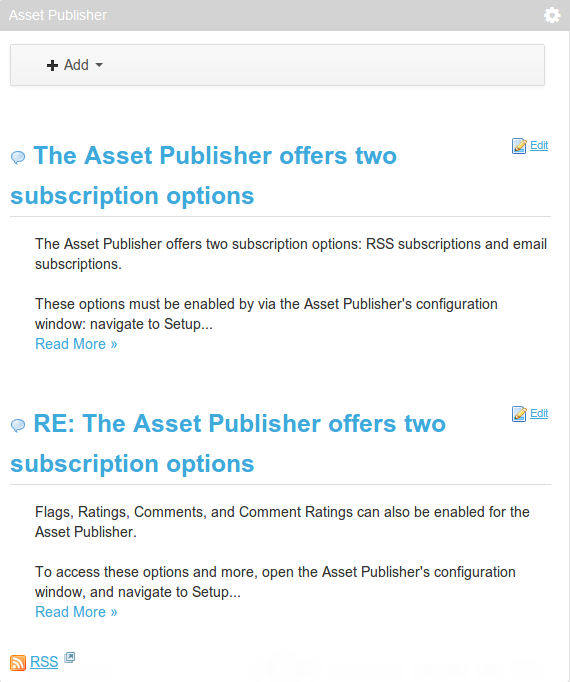 Figure 6.16: When RSS subscriptions have been enabled for an Asset Publisher portlet, a link to the Asset Publishers RSS feed appears. Users can subscribe to the Asset Publishers RSS feed using their preferred RSS reader.