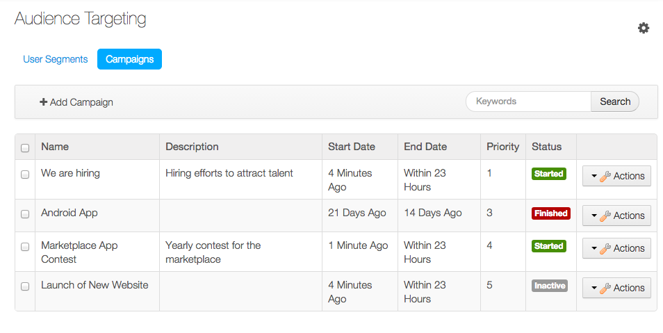Figure 7.5: Click on Site Administration → Configuration → Audience Targeting → Campaigns to manage campaigns for a site.