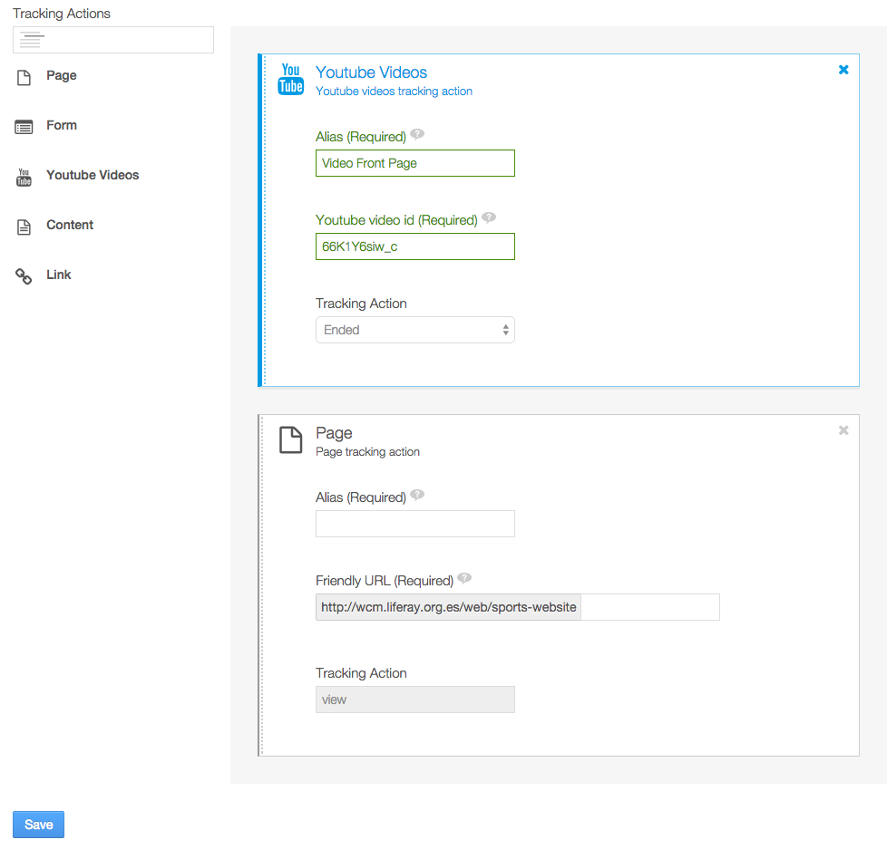 Figure 7.6: Drag and drop tracking actions to the right to configure a campaign.