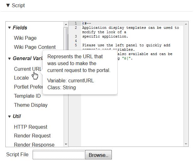 Figure 8.6: Liferay offers a versatile script editor to customize your ADT.