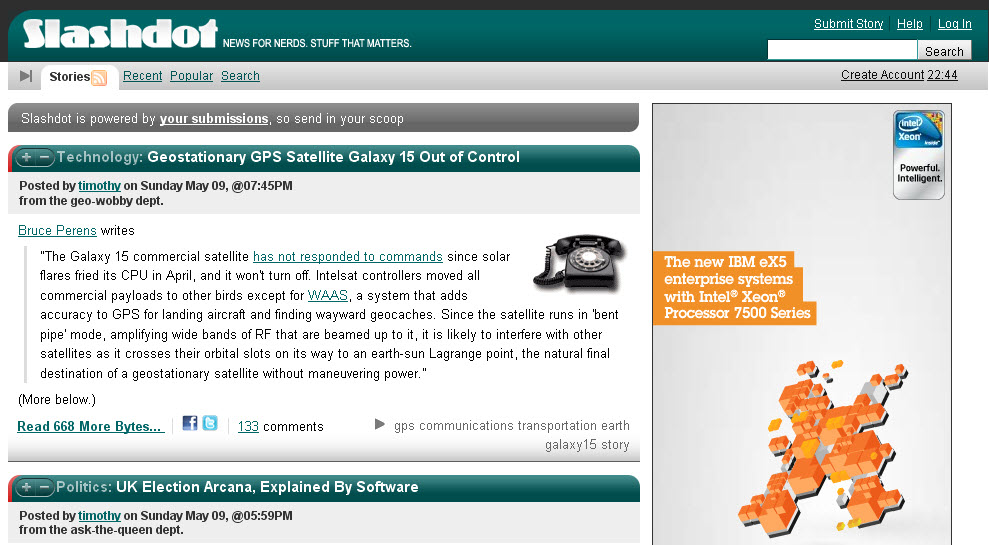 Figure 9.1: Slashdot was one of the first blogs on the Internet.