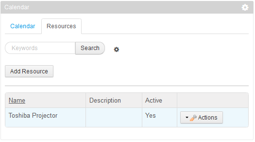 Figure 9.15: Click on the Resources tab of the portlet to view, edit, add, or delete resources.