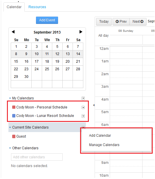 Figure 9.9: You have options to add or manage calendars. Also, you can toggle the colored boxes beside your calendars to show/hide your planned events.