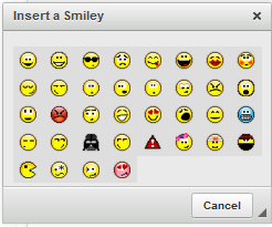 Figure 9.21: Liferays dynamic editor even includes a wide range of smiley faces!