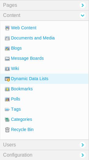 Figure 11.1: You can manage dynamic data lists from the Content section of the Site Administration area of the Control Panel.