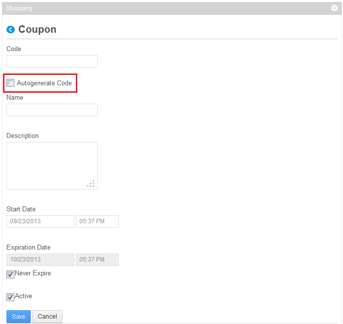 Figure 14.18: Create a coupon code automatically when you select the Autogenerate Code box.