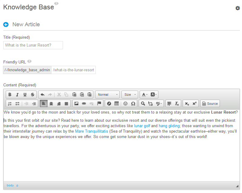 Figure 14.27: You can create and modify a Knowledge Base articles content using the WYSIWYG editor.