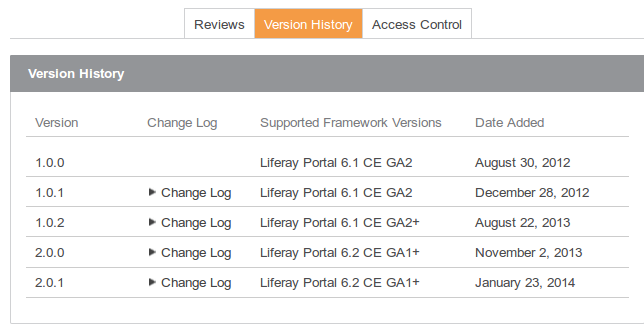 Figure 15.10: Look at an apps supported framework versions to check if its compatible with your version of Liferay.