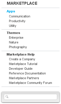 Figure 15.9: You can search for apps using the search box in the navigation menu. Results are returned if your search terms match an apps title or description.