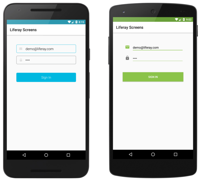 The Login Screenlet using the Default (left) and Material (right) Viewsets.