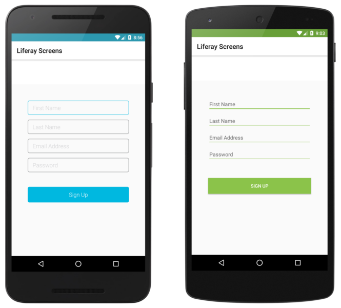 The Sign Up Screenlet with the Default (left) and Material (right) Viewsets.